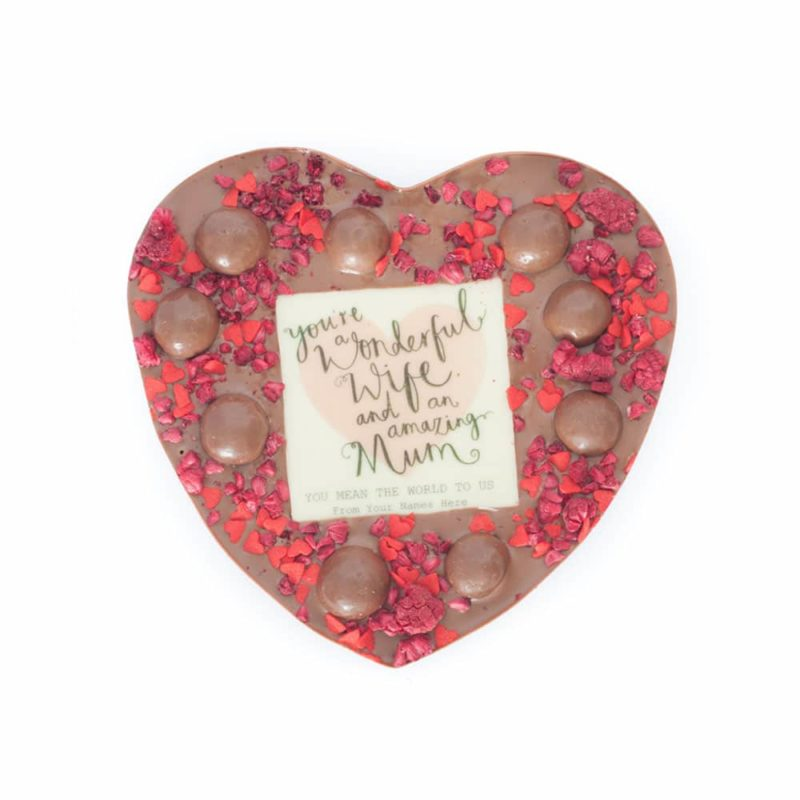 Wonderful Mum Personalised Medium Heart (Choose Milk, Dark or White chocolate) 1