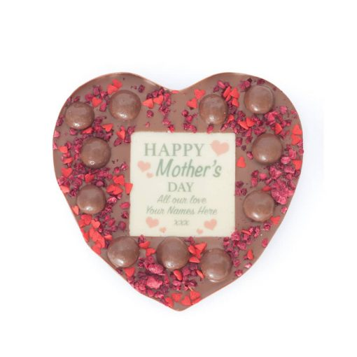 Personalised Happy Mother's Day Medium Heart (Choose Milk, Dark or White chocolate) 1