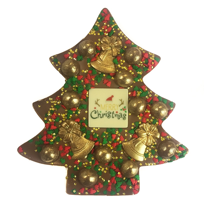 Christmas Tree Shaped Chocolate with Golden bells