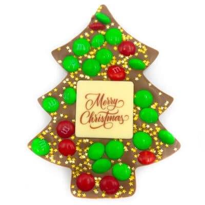 Christmas Tree with m&ms and gold stars