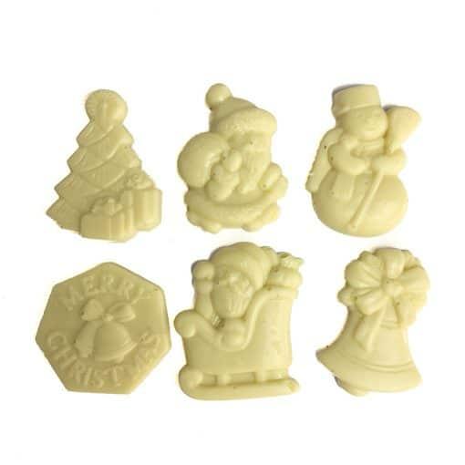 White chocolate christmas figures
