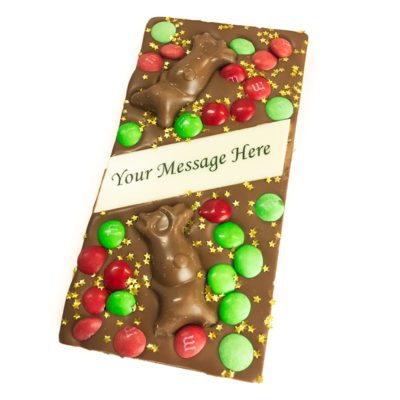 Milk chocolate christmas message block