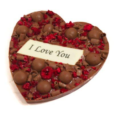 I love you chocolate heart slab