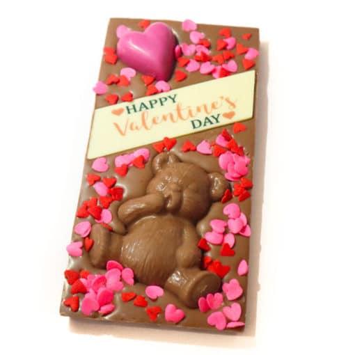 Happy Valentine's Day Teddy Bear Chocolate Block