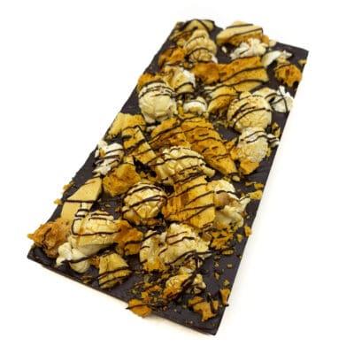 Vegan Chocolate block with dark chocolate, honeycomb and caramel popcorn