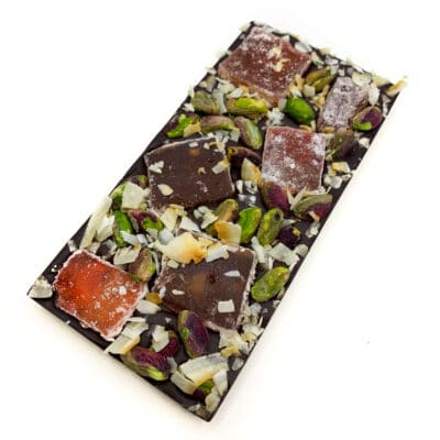 Vegan Chocolate block with dark chocolate, turkish delight, toasted coconut and pistachios